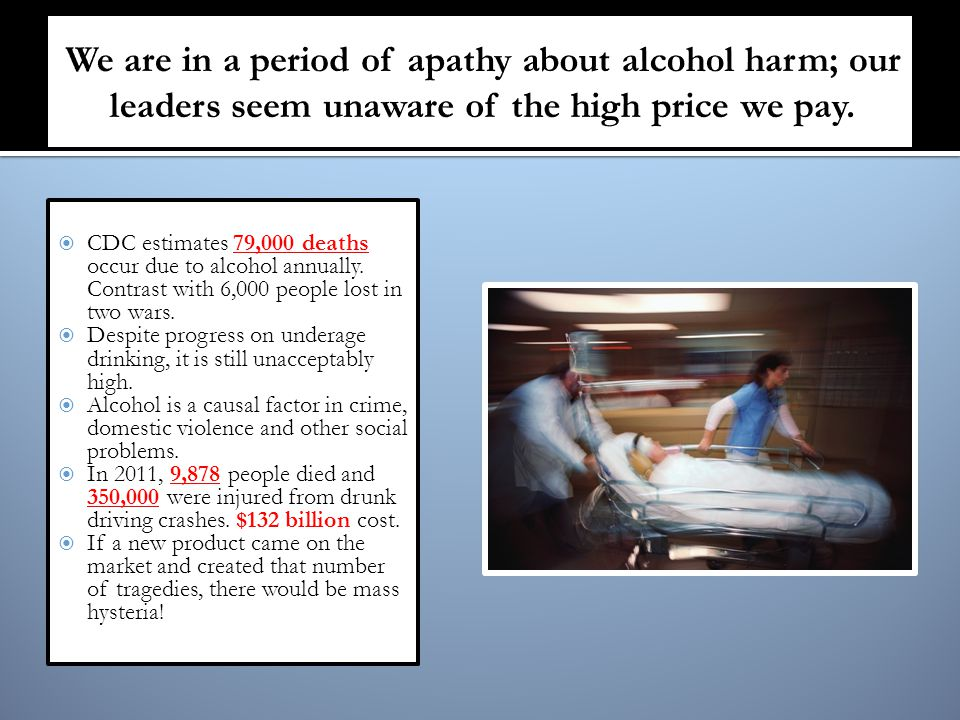  CDC estimates 79,000 deaths occur due to alcohol annually.