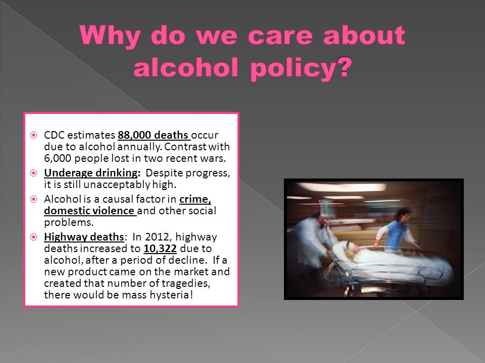  CDC estimates 88,000 deaths occur due to alcohol annually.