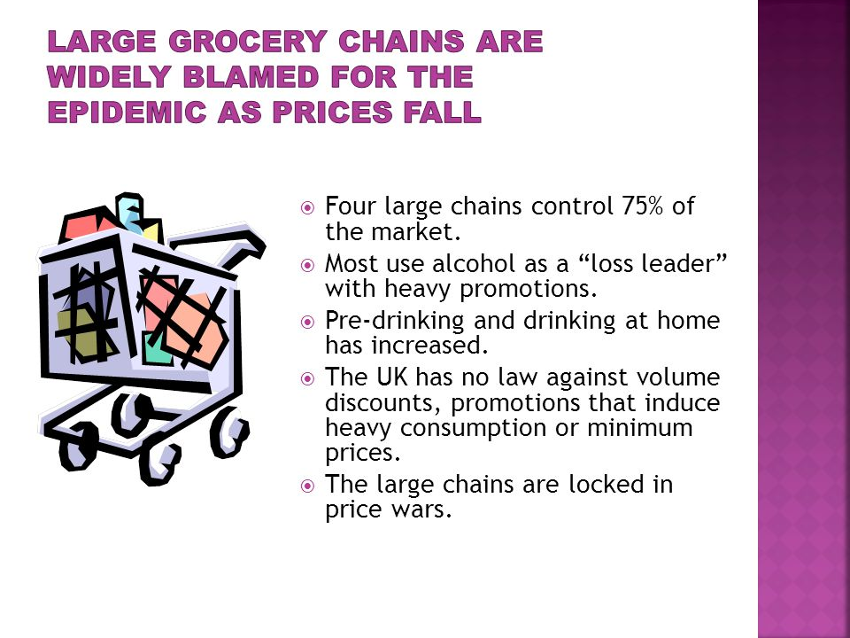  Four large chains control 75% of the market.