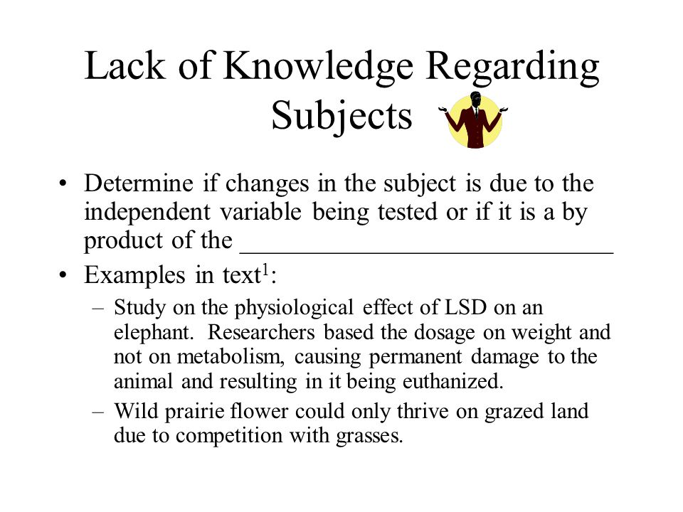 Lack of Knowledge Regarding Subjects Determine if changes in the subject is due to the independent variable being tested or if it is a by product of the ____________________________ Examples in text 1 : –Study on the physiological effect of LSD on an elephant.