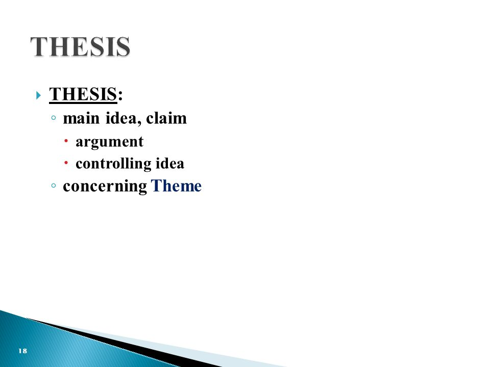  THESIS: ◦ main idea, claim  argument  controlling idea ◦ concerning Theme 18