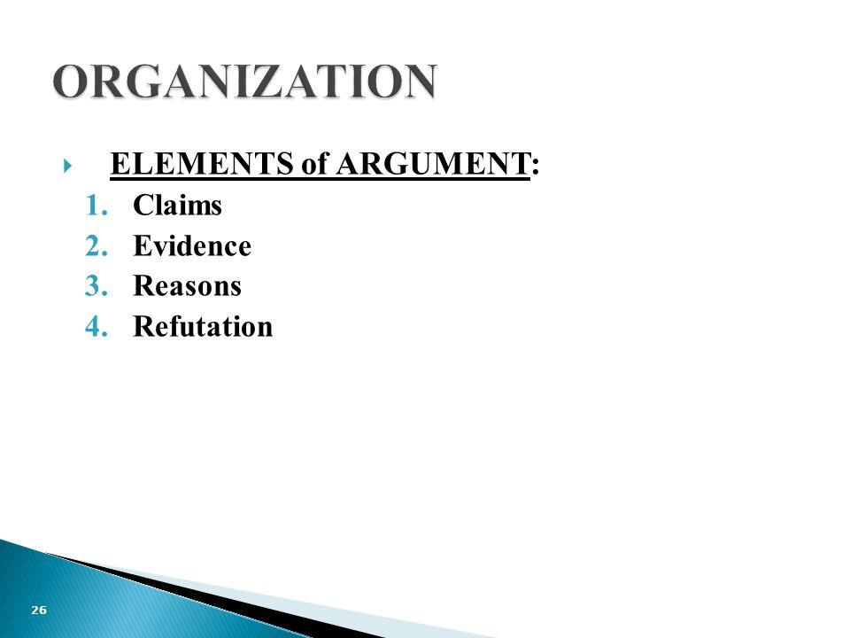  ELEMENTS of ARGUMENT: 1.Claims 2.Evidence 3.Reasons 4.Refutation 26