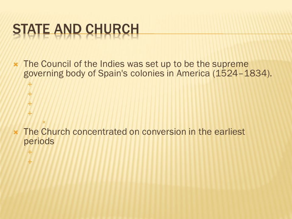  The Council of the Indies was set up to be the supreme governing body of Spain s colonies in America (1524–1834).