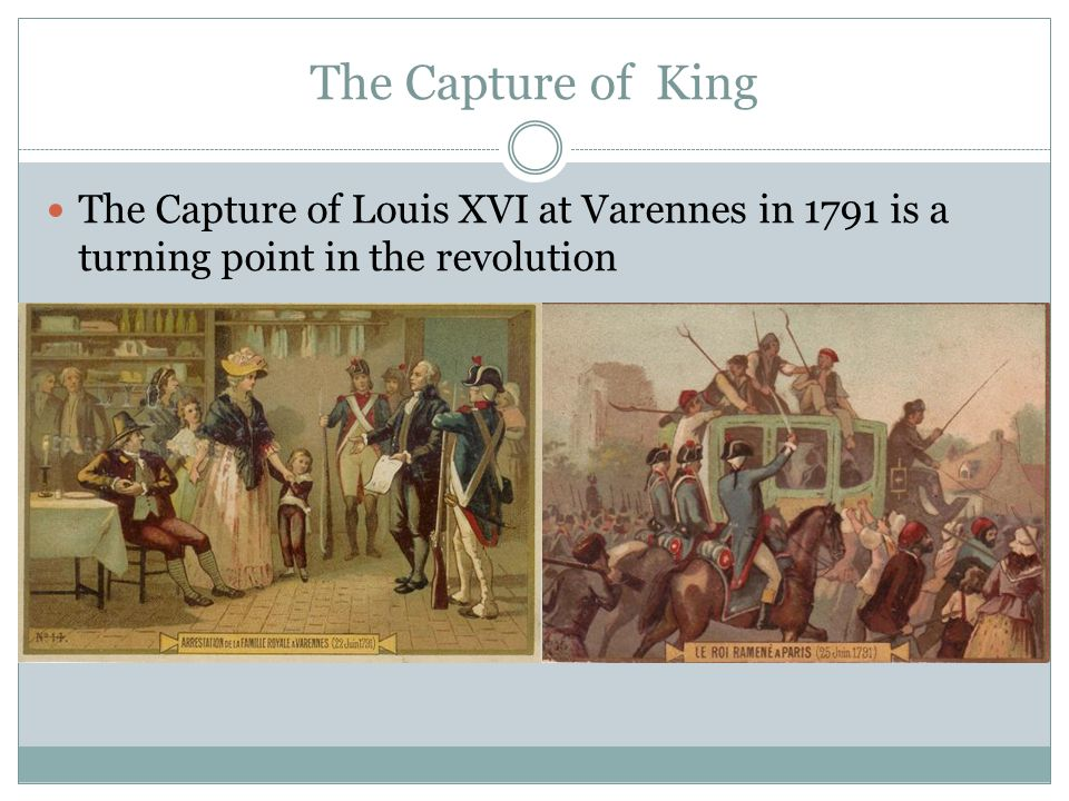 The Capture of King The Capture of Louis XVI at Varennes in 1791 is a turning point in the revolution
