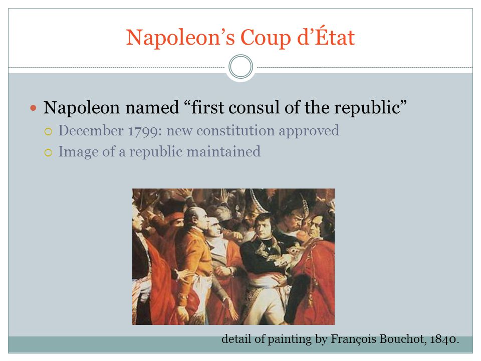 Napoleon's Coup d'État Napoleon named first consul of the republic  December 1799: new constitution approved  Image of a republic maintained detail of painting by François Bouchot, 1840.
