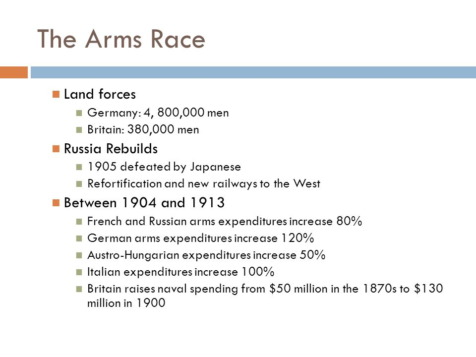The Arms Race Land forces Germany: 4, 800,000 men Britain: 380,000 men Russia Rebuilds 1905 defeated by Japanese Refortification and new railways to the West Between 1904 and 1913 French and Russian arms expenditures increase 80% German arms expenditures increase 120% Austro-Hungarian expenditures increase 50% Italian expenditures increase 100% Britain raises naval spending from $50 million in the 1870s to $130 million in 1900
