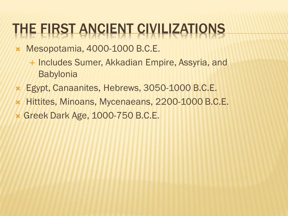  Mesopotamia, 4000-1000 B.C.E.