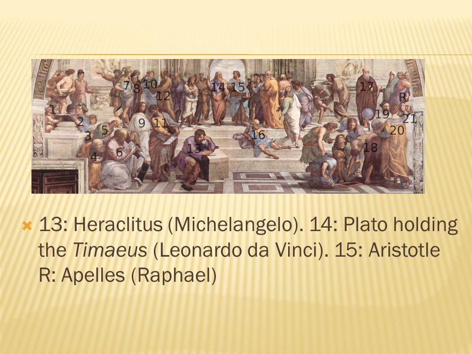  13: Heraclitus (Michelangelo). 14: Plato holding the Timaeus (Leonardo da Vinci).