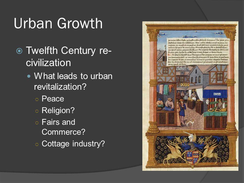 Urban Growth  Twelfth Century re- civilization What leads to urban revitalization.