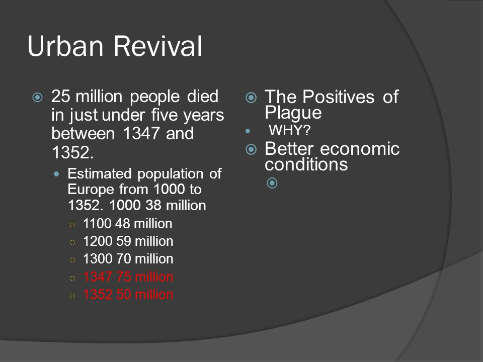Urban Revival  The Positives of Plague WHY.