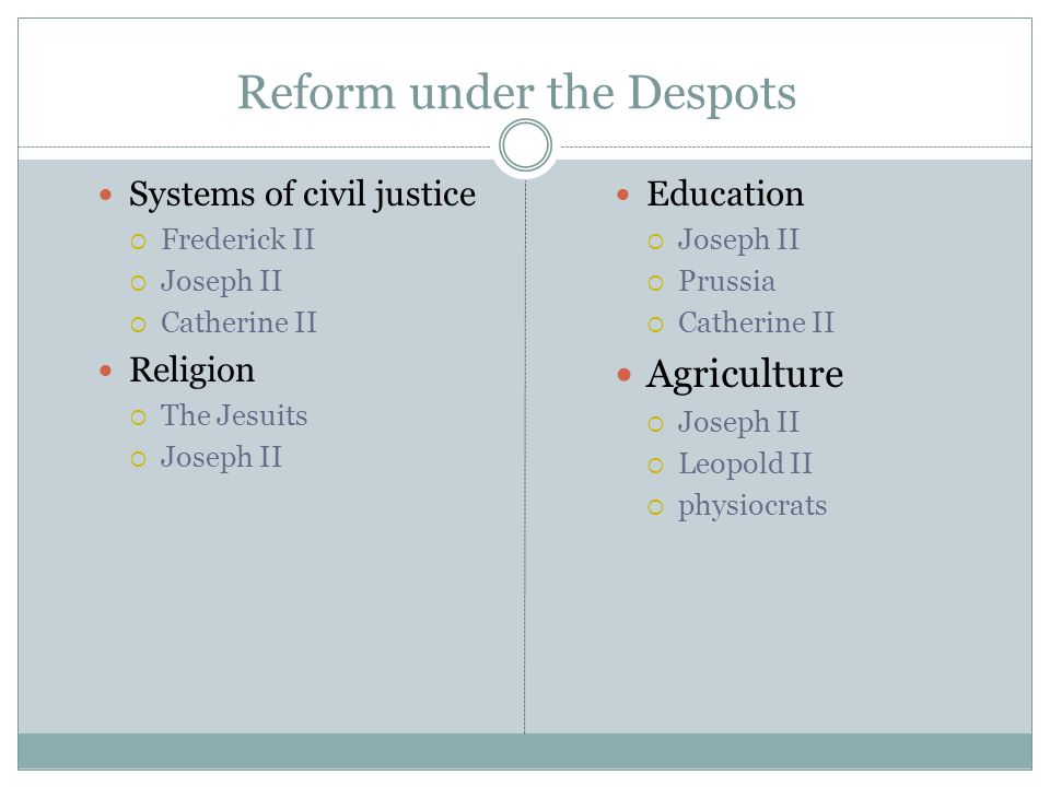 Reform under the Despots Systems of civil justice  Frederick II  Joseph II  Catherine II Religion  The Jesuits  Joseph II Education  Joseph II 