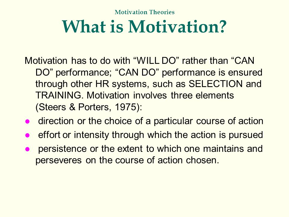 Motivation Theories What is Motivation.