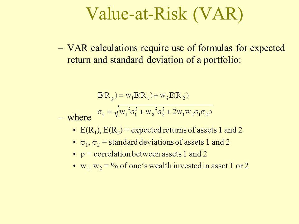 Value-at-Risk (VAR) –VAR calculations require use of formulas for expected return and standard deviation of a portfolio: –where E(R 1 ), E(R 2 ) = exp