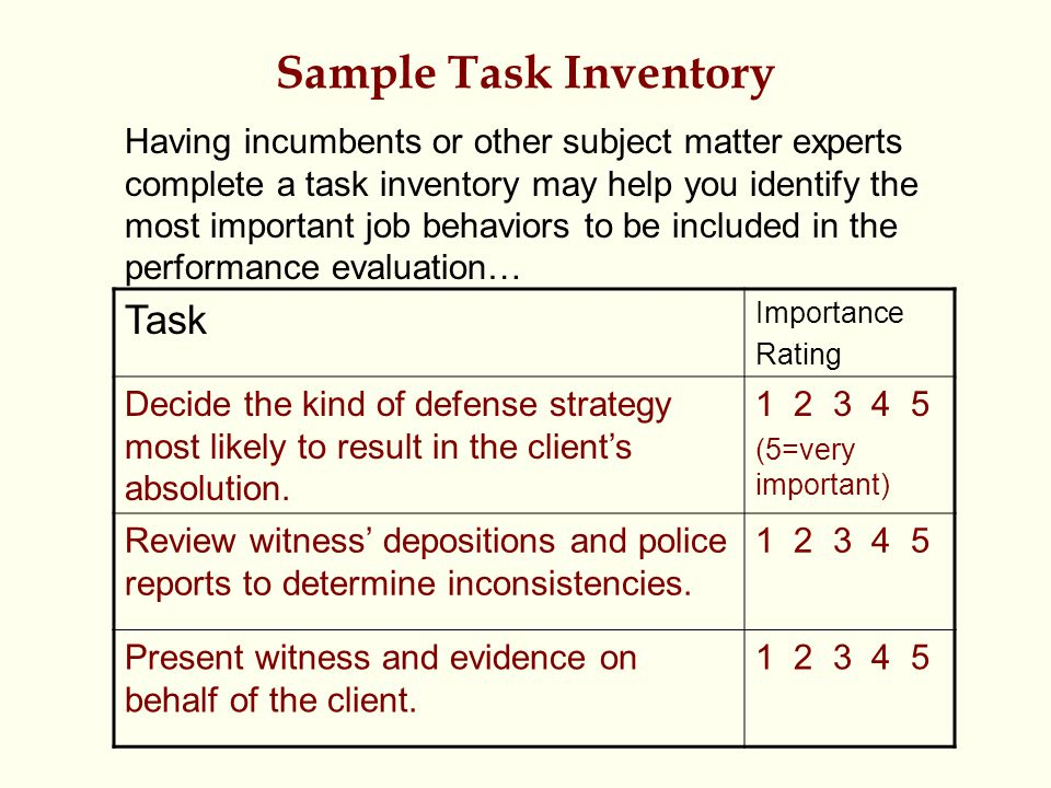 Sample Task Inventory Task Importance Rating Decide the kind of defense strategy most likely to result in the client's absolution. 1 2 3 4 5 (5=very i