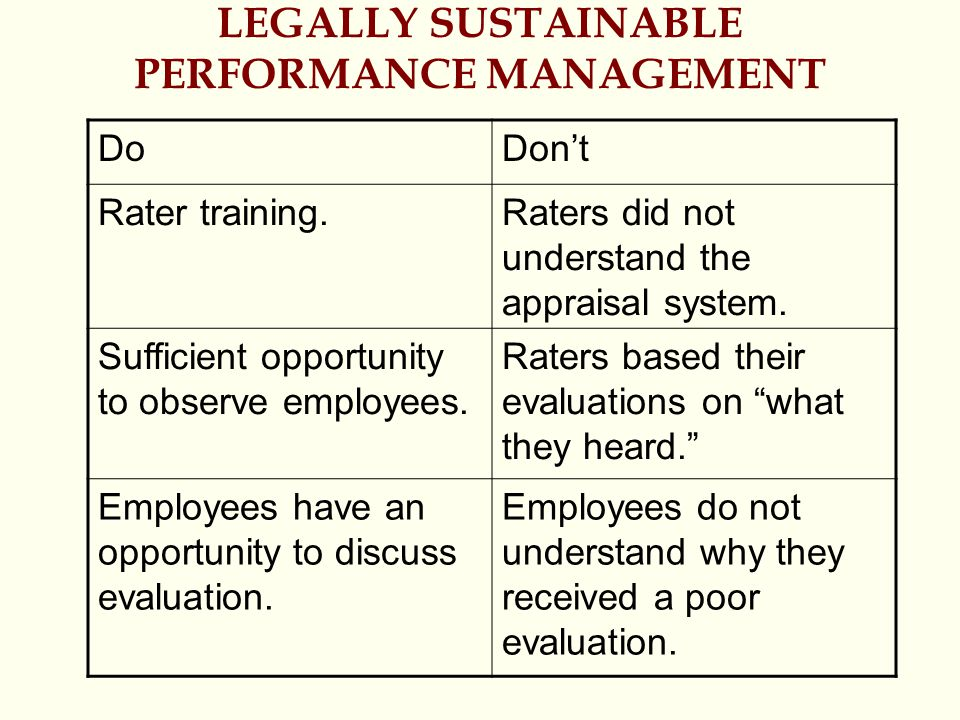 LEGALLY SUSTAINABLE PERFORMANCE MANAGEMENT DoDon't Rater training.Raters did not understand the appraisal system. Sufficient opportunity to observe em