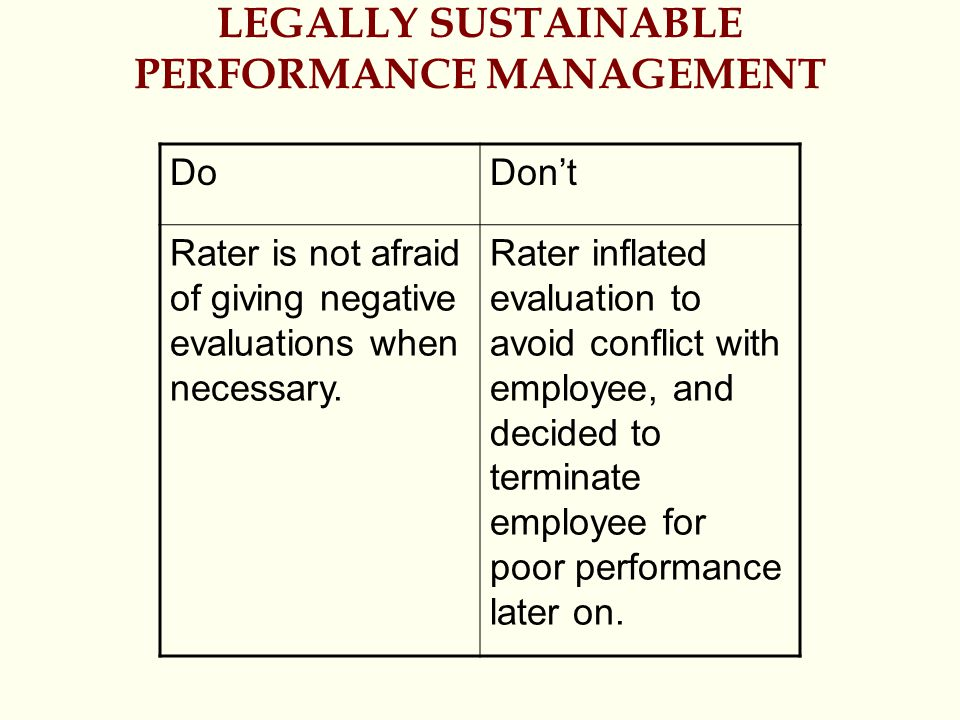 LEGALLY SUSTAINABLE PERFORMANCE MANAGEMENT DoDon't Rater is not afraid of giving negative evaluations when necessary.