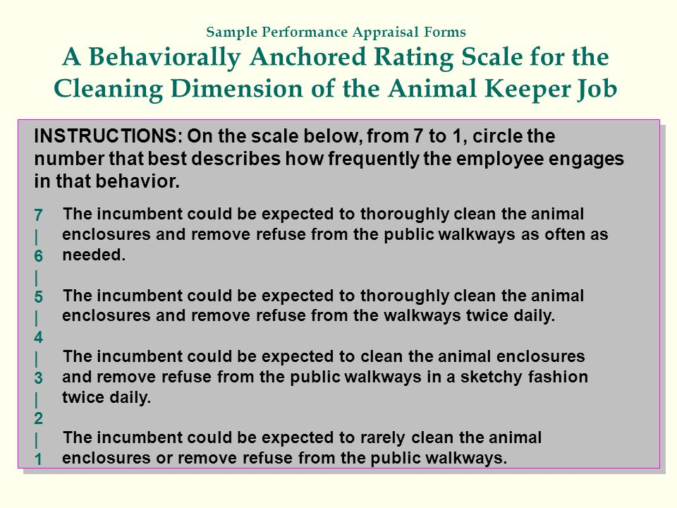 Sample Performance Appraisal Forms A Behaviorally Anchored Rating Scale for the Cleaning Dimension of the Animal Keeper Job INSTRUCTIONS: On the scale below, from 7 to 1, circle the number that best describes how frequently the employee engages in that behavior.