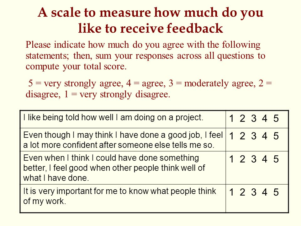 A scale to measure how much do you like to receive feedback Please indicate how much do you agree with the following statements; then, sum your responses across all questions to compute your total score.