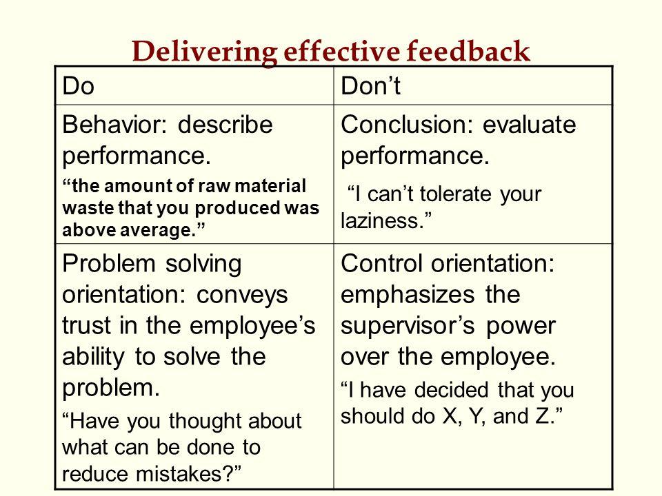 Delivering effective feedback DoDon't Behavior: describe performance.