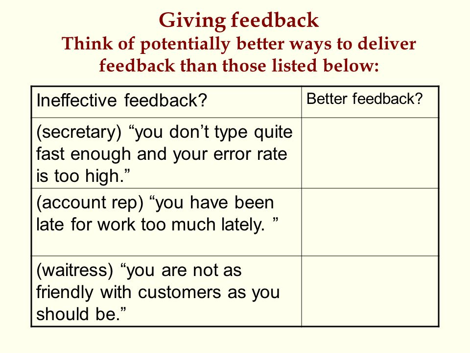 """Giving feedback Think of potentially better ways to deliver feedback than those listed below: Ineffective feedback? Better feedback? (secretary) """"you"""