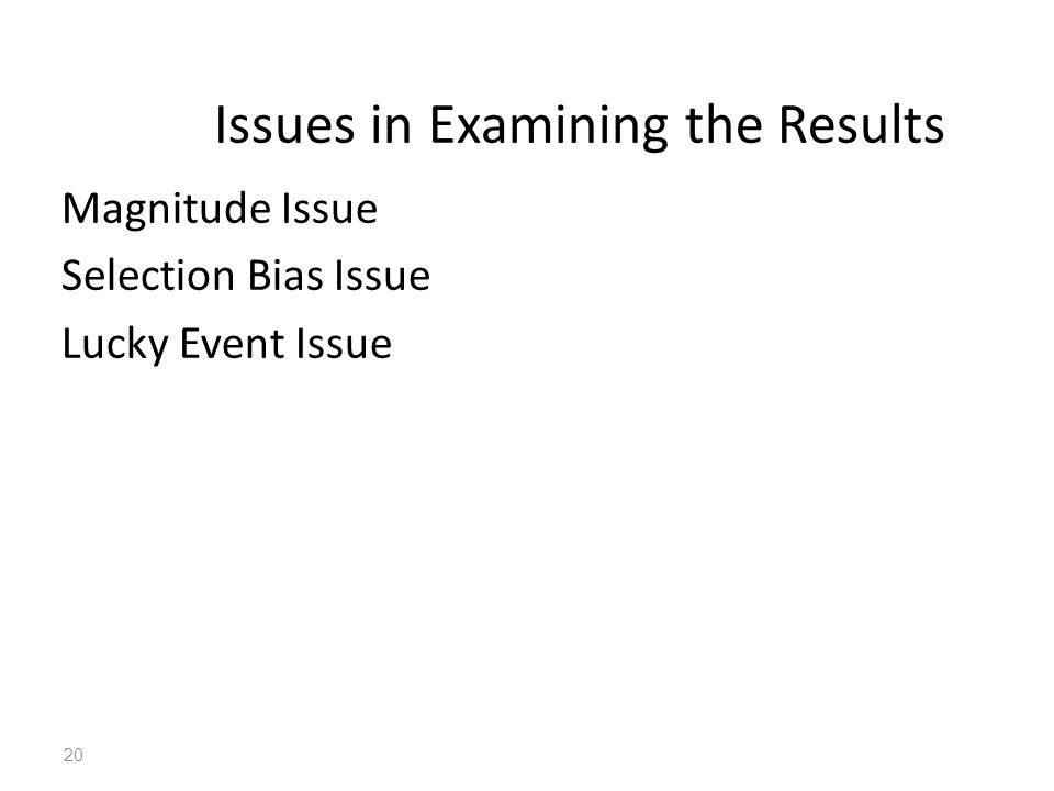 20 Magnitude Issue Selection Bias Issue Lucky Event Issue Issues in Examining the Results