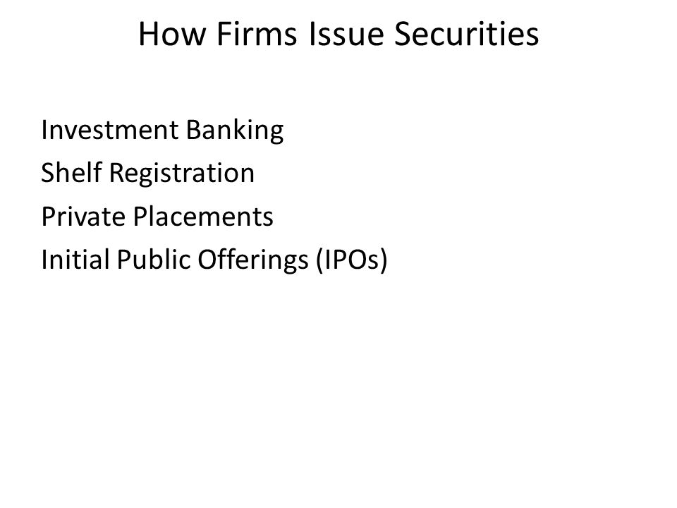 How Firms Issue Securities Investment Banking Shelf Registration Private Placements Initial Public Offerings (IPOs)
