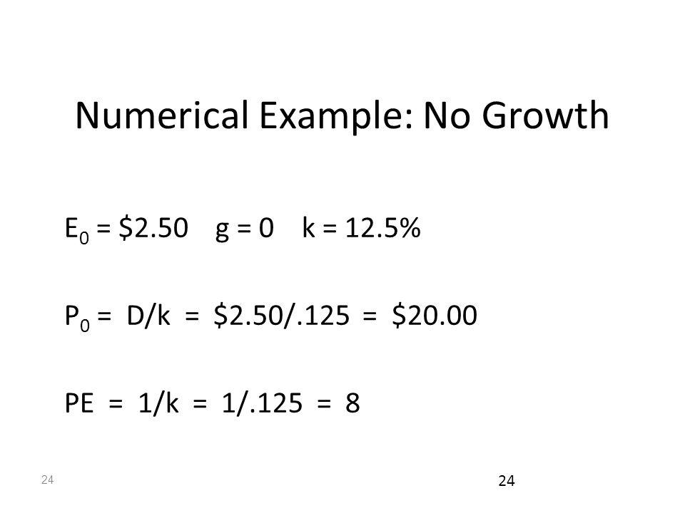 24 Numerical Example: No Growth E 0 = $2.50 g = 0 k = 12.5% P 0 = D/k = $2.50/.125 = $20.00 PE = 1/k = 1/.125 = 8