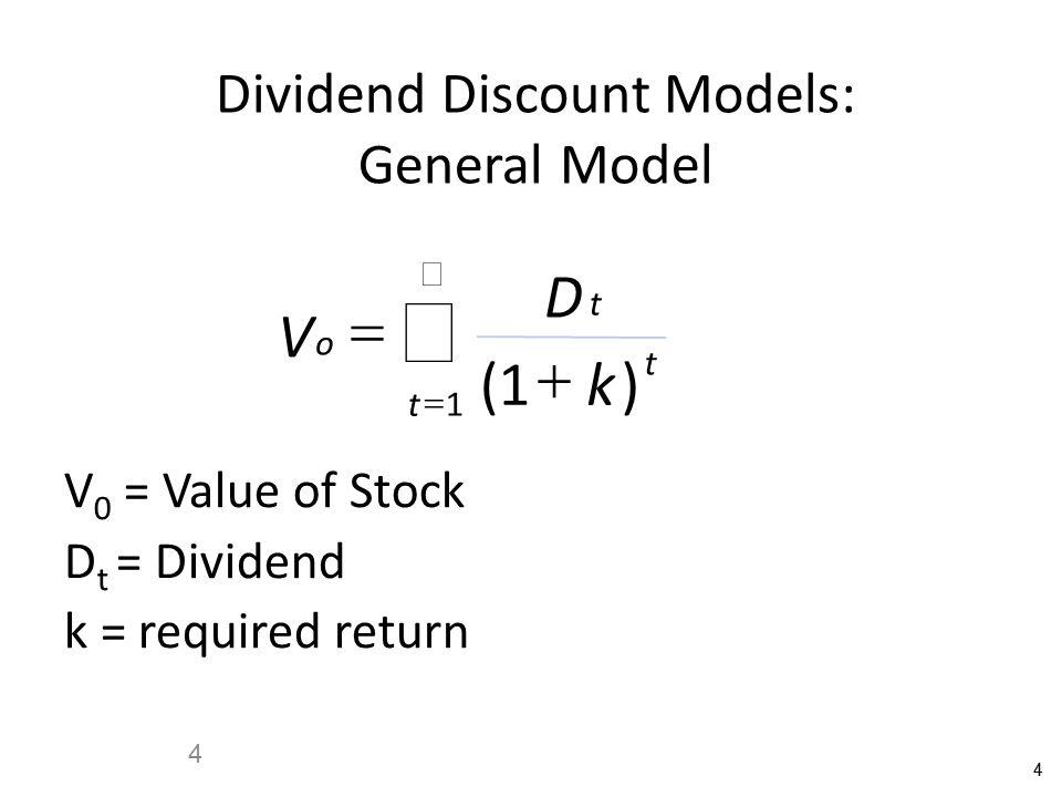 44 4 Dividend Discount Models: General Model V D k o t t t      ()1 1 V 0 = Value of Stock D t = Dividend k = required return