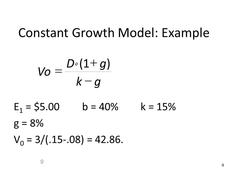 99 9 Constant Growth Model: Example Vo Dg kg o    ()1 E 1 = $5.00b = 40% k = 15% g = 8% V 0 = 3/(.15-.08) = 42.86.