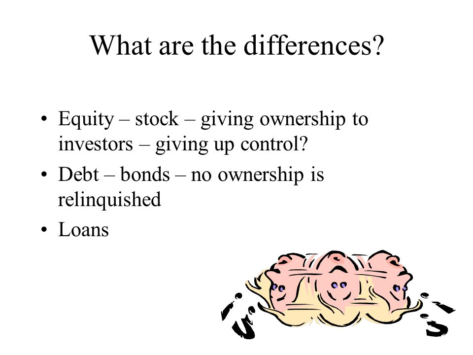 What are the differences.Equity – stock – giving ownership to investors – giving up control.