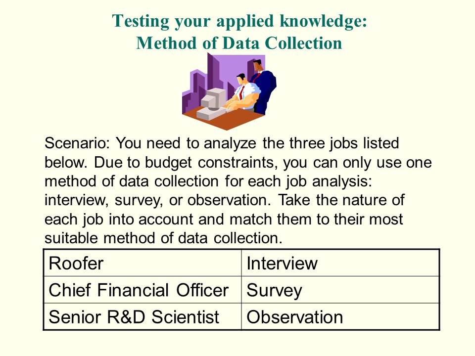 Testing your applied knowledge: Method of Data Collection Scenario: You need to analyze the three jobs listed below. Due to budget constraints, you ca