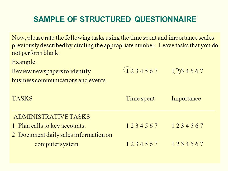 Now, please rate the following tasks using the time spent and importance scales previously described by circling the appropriate number. Leave tasks t