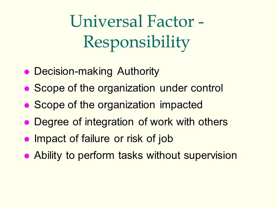Universal Factor - Responsibility l Decision-making Authority l Scope of the organization under control l Scope of the organization impacted l Degree