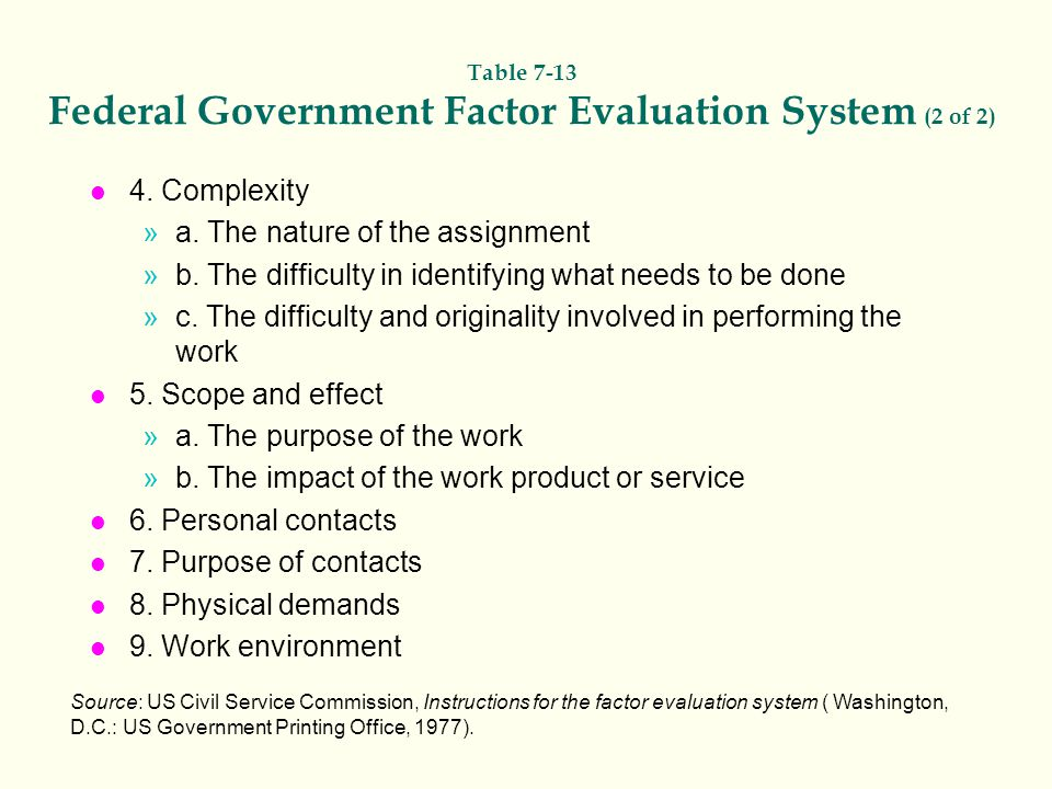 Table 7-13 Federal Government Factor Evaluation System (2 of 2) l 4. Complexity »a. The nature of the assignment »b. The difficulty in identifying wha