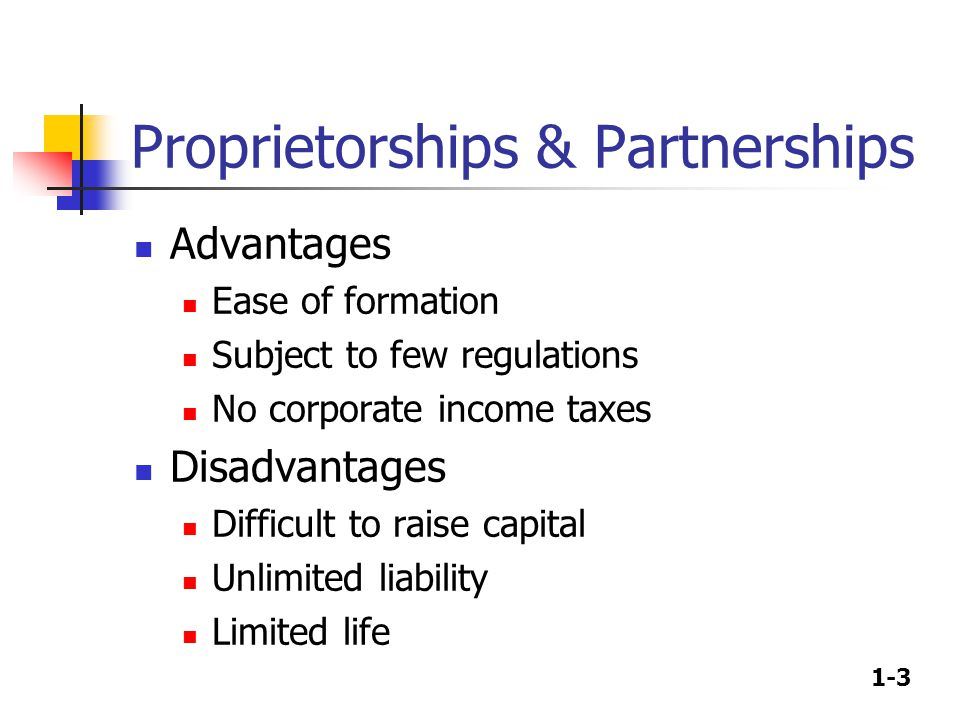 1-3 Proprietorships & Partnerships Advantages Ease of formation Subject to few regulations No corporate income taxes Disadvantages Difficult to raise capital Unlimited liability Limited life