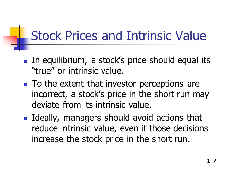 1-7 Stock Prices and Intrinsic Value In equilibrium, a stock's price should equal its true or intrinsic value.