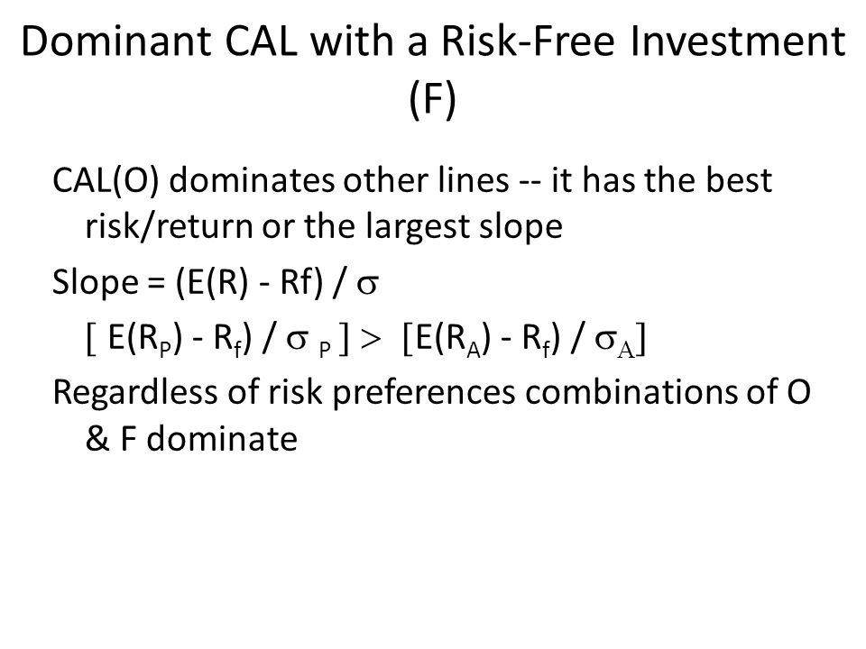 Dominant CAL with a Risk-Free Investment (F) CAL(O) dominates other lines -- it has the best risk/return or the largest slope Slope = (E(R) - Rf) / 
