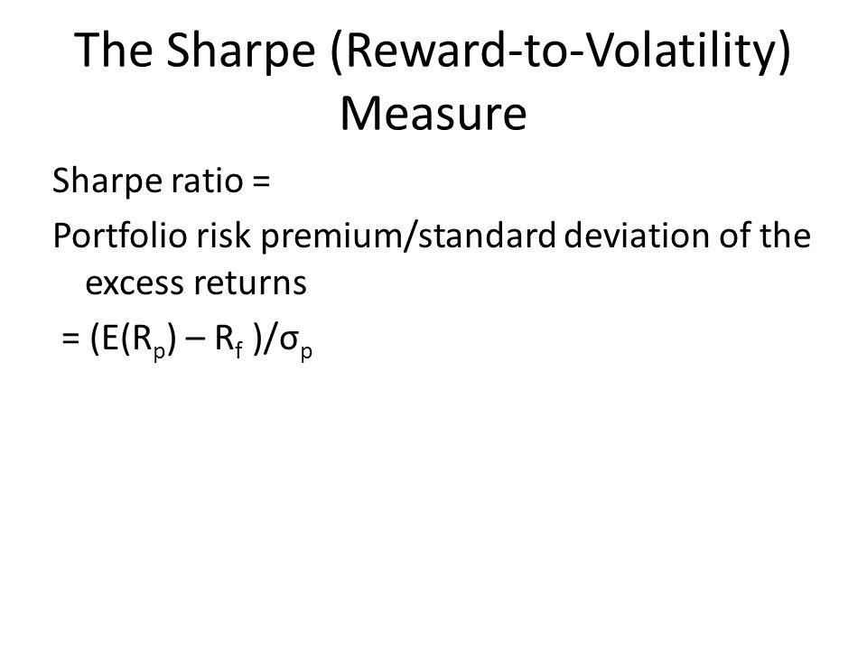 The Sharpe (Reward-to-Volatility) Measure Sharpe ratio = Portfolio risk premium/standard deviation of the excess returns = (E(R p ) – R f )/σ p