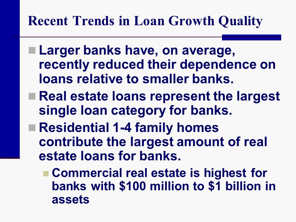 Recent Trends in Loan Growth Quality Commercial and industrial loans represent the second highest concentration of loans at banks Loans to individuals are greatest for banks with more than $1 billion in assets Farmland and farm loans make up a significant portion of the smallest banks' loans
