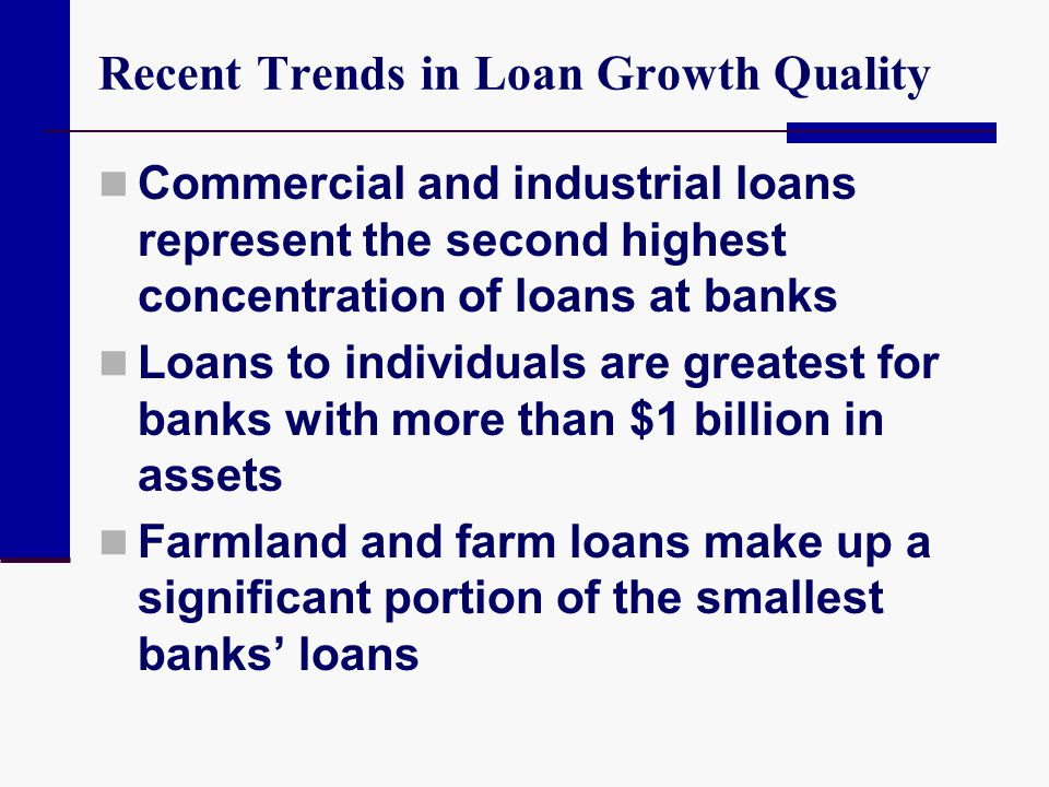 Recent Trends in Loan Growth Quality Commercial and industrial loans represent the second highest concentration of loans at banks Loans to individuals