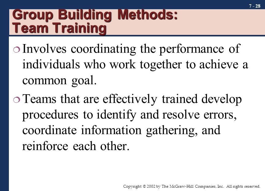 Copyright © 2002 by The McGraw-Hill Companies, Inc. All rights reserved. 7 - 28 Group Building Methods: Team Training  Involves coordinating the perf