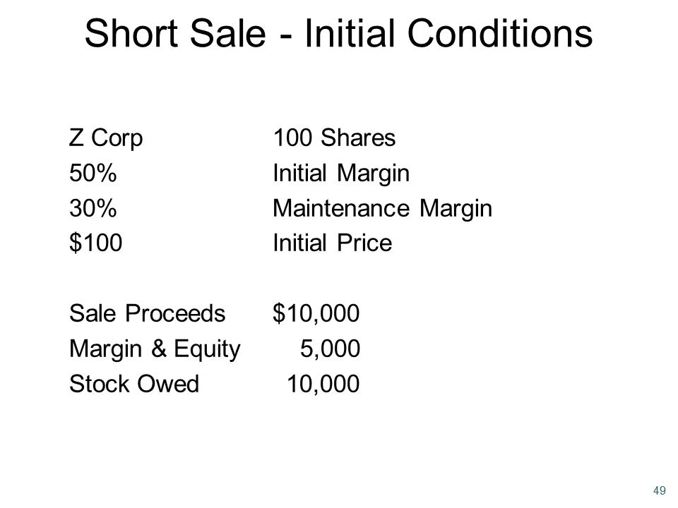 49 Short Sale - Initial Conditions Z Corp100 Shares 50%Initial Margin 30%Maintenance Margin $100Initial Price Sale Proceeds$10,000 Margin & Equity 5,0