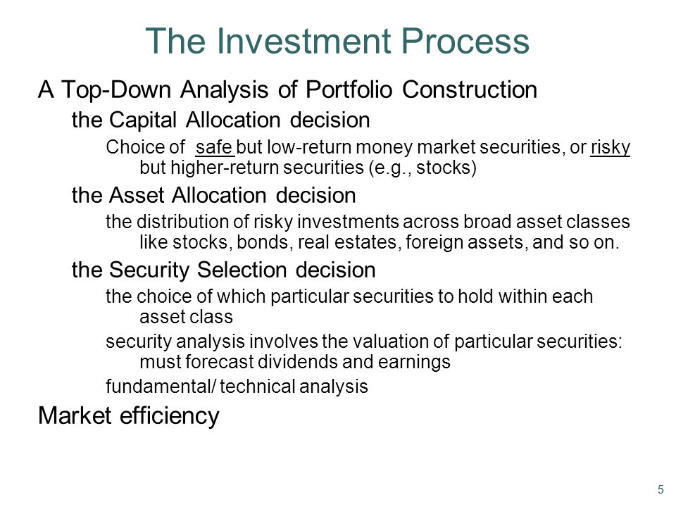 55 The Investment Process A Top-Down Analysis of Portfolio Construction the Capital Allocation decision Choice of safe but low-return money market sec