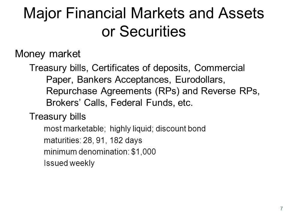 77 Major Financial Markets and Assets or Securities Money market Treasury bills, Certificates of deposits, Commercial Paper, Bankers Acceptances, Euro
