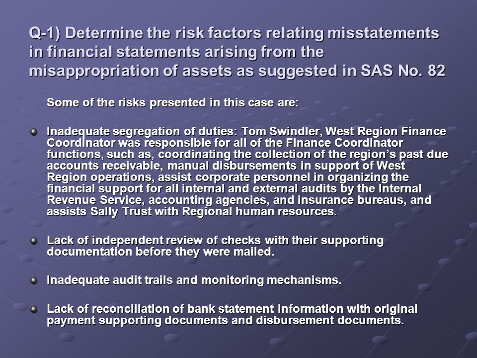 Q-1) Determine the risk factors relating misstatements in financial statements arising from the misappropriation of assets as suggested in SAS No. 82