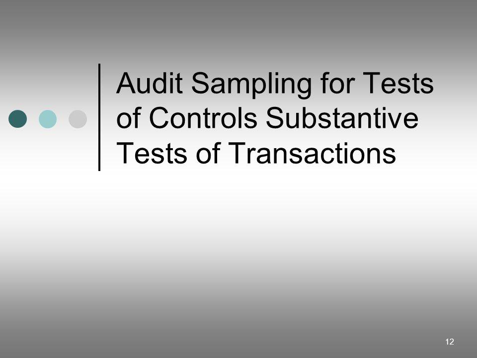 12 Audit Sampling for Tests of Controls Substantive Tests of Transactions