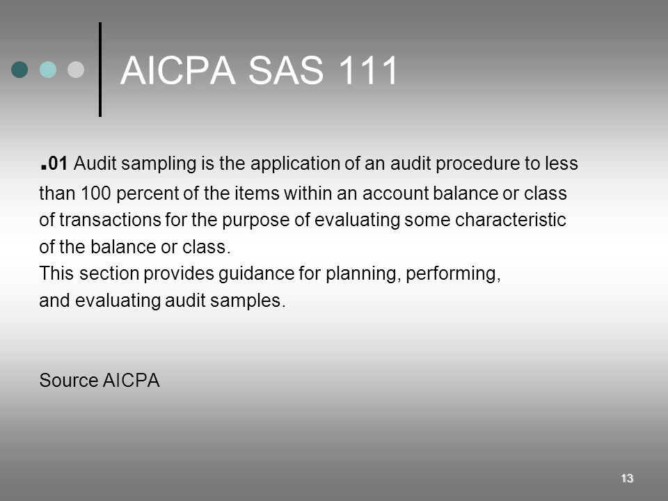 13 AICPA SAS 111. 01 Audit sampling is the application of an audit procedure to less than 100 percent of the items within an account balance or class