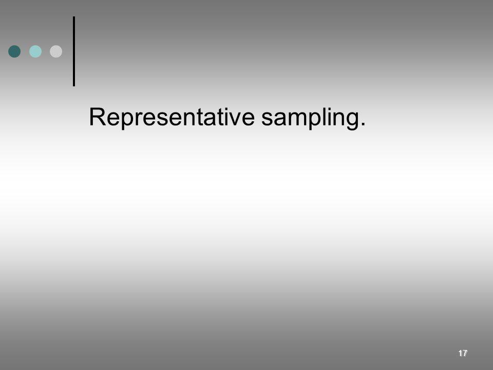 17 Representative sampling.