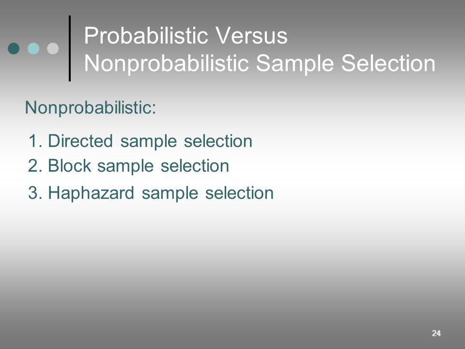 24 Probabilistic Versus Nonprobabilistic Sample Selection 1. Directed sample selection 2. Block sample selection 3. Haphazard sample selection Nonprob