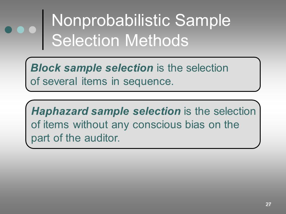 27 Nonprobabilistic Sample Selection Methods Block sample selection is the selection of several items in sequence. Haphazard sample selection is the s